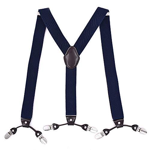 Lässige Gürtel Elastischer Verstellbarer Träger Hosenträger mit Y-Rücken, Anzug for Dicke Männer, Lässige Mode-Accessoires (Farbe : Navy Blue)