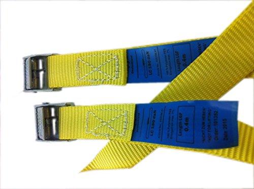 Paar (2Stk) Befestigungsriemen Set Farbe wählbar , ideal zur Befestigung am Fahrradträger , Auto Heckträger Fahrrad , Klemschloss Gurte , Spanngurte , Camping Outdoor , iapyx® (gelb)