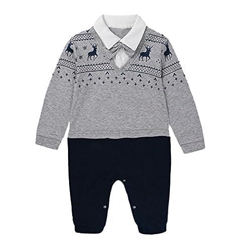 Kinderbekleidung Hirolan Neugeborene Kleidung Lange Hülse Hirsch Drucken Strampelhöschen Jungen Mädchen Overall 0-18 Monate Baby Beiläufig Outfit Kleider (59, (Baby-0-6 Monate Kostüme)