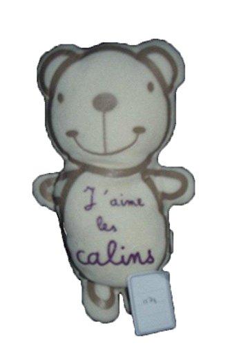 DPAM - Doudou Dpam ours j aimes les Calins hochets blanc et gris - 1174