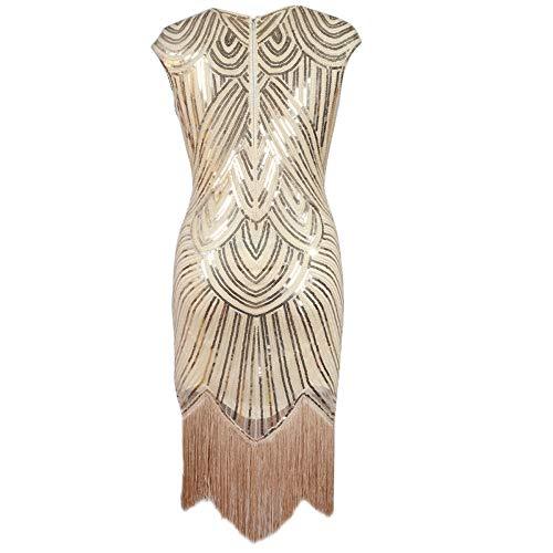 ZLDDE Damen Kleid Retro Stil Flapper Kleider voller Pailletten Runder Ausschnitt Great Gatsby Motto Party Kleider Damen Kostüm Kleid (Pailletten Smoking Kleid Damen Kostüm)