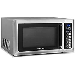 Klarstein Brilliance Pro - Micro-ondes 1000W, Fonction grill 1250W, Chaleur tournante 2150W, Volume 43L, 9 programmes, Écran tactile, env. 20kg, assiette, plaque de cuisson, rouleau, Argent