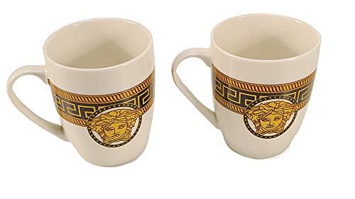 Deko-König 2 teiliges Tee- und Kaffeebecher Set mit Mäander Verzierung und Medusa Kopf