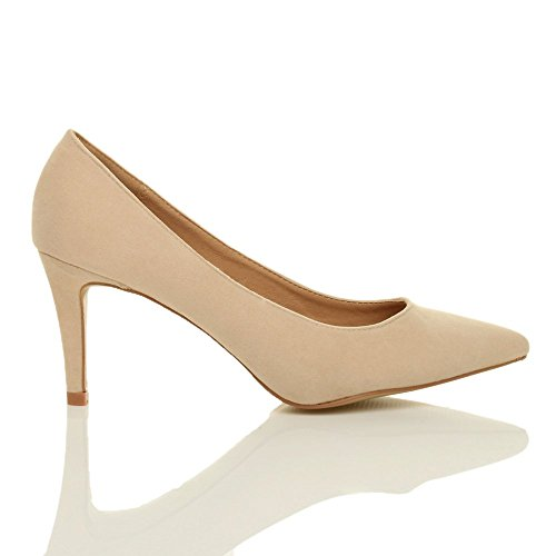 Donna tacco medio semplice completo essenziale punta décolleté scarpe taglia Ecrù scamosciata