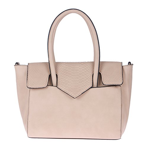 Handbag for Women with Crocodile Texture by Fur Jaden, Branded Beige Handbag Tote for Ladies