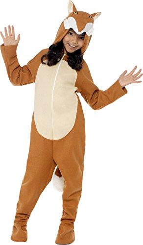 (Smiffys Kinder Unisex Fuchs Kostüm, All-in-One mit Kapuze und Schwanz, Größe: L, 44074)