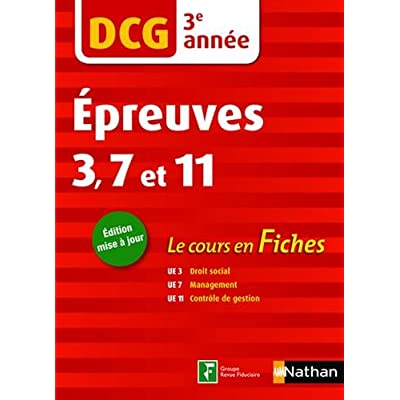 DCG 3e année Epreuves 3, 7 et 11