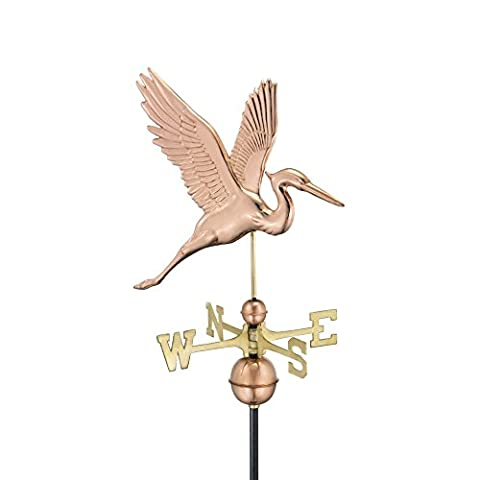 Good Directions Graceful Blue Heron Weathervane, Pure Copper