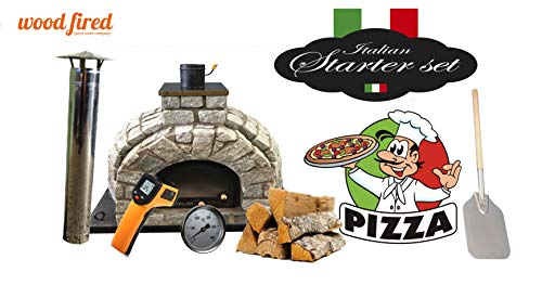 Tudor King Stone Wood Fired Pizza Oven Double Insulation Starter Kit, Cast Iron Door, without gas burner