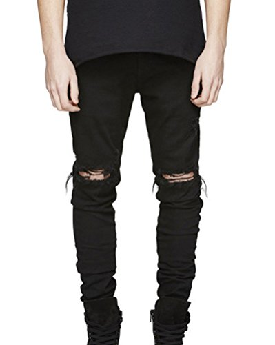Persönlichkeit Biker-Jeans Herren Hose Stretch-Denim Slim-Fit Zipper Destroyed Jeanshosen Schwarz