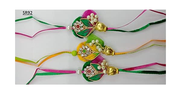 Veera Rakhi For Brother Raksha Bandhan Traditional Colorful Beads Rakhee For Kids Indian Hindu Festival
