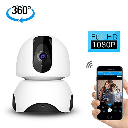 GEEKHOM Cámara de Vigilancia HD 1080P, 3D Cámara Panorámica de 360 Grados, WiFi Cámara IP con visión Nocturna, Detección de Movimiento, Monitor para Hogar y Bebé, Compatible con iOS/Android