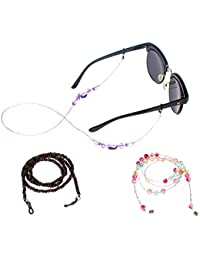 Soleebee 3 Pieces Universal Adjustable Glasses Chains Cord Multiple Fashion Glass Beaded Eyewear Retainer/Sunglasses Lanyard/Eyewear Cord/Eyeglass Holder/Spectacles Cords