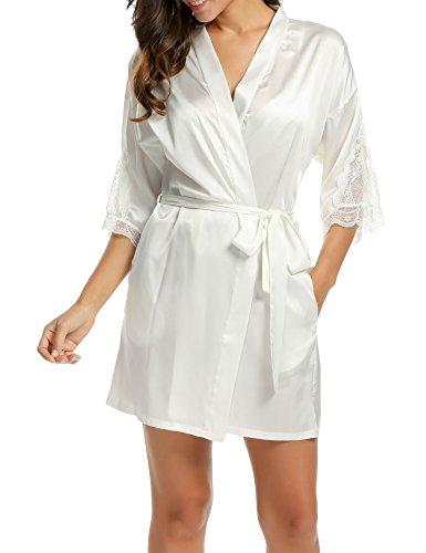 BeautyUU Damen Satin Kimono Nachthemd Morgenmantel Bademantel Kurze Schlafanzüge  Mit Blumenspitze Nachtwäsche Mit Tiefer V-Ausschnitt ,Weiß ,XS
