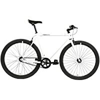 FabricBike- Bicicleta Fixie Blanca, piñon Fijo, Single Speed, Cuadro Hi-Ten Acero, 10Kg (M-53cm, Space White & Black)
