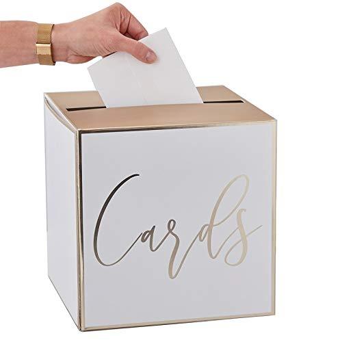 Geld-Box/Brief-Box/Hochzeits-Post Cards in weiß & Gold - ideal für Kuverts, Hochzeits-Karten & Geld-Geschenke zur Hochzeit, Geburtstags-Umschläge, Sammel-Box Geld-Geschenke (Hochzeit Geschenk-boxen Für Karten)