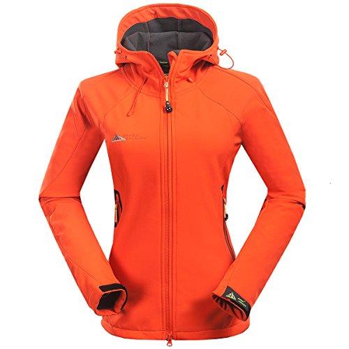 Mount Conquer Damen Softshelljacke Fleecefutter Kapuze Winddicht Wasserdicht Outdoor Camping Wandern Sport Jacke (Medium, Orange)