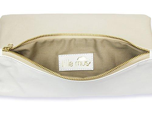 lille mus Damen Foldover-Tasche Finja mit Umhängekette, aus Leder Beige/Weiß