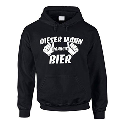 Hoodie Dieser Mann braucht Bier Kapuzenpullover Fun Pullover Beer, XL, schwarz (Hoodie Bier)