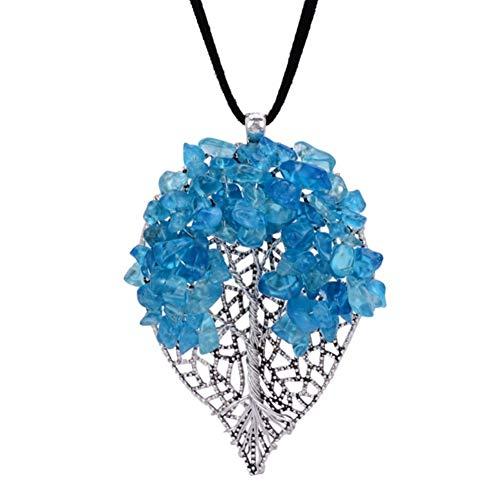 WYLXL Halskette Blaue Heilung Kristall Chips Hohle Blattform Anhänger HalsketteNaturstein Lange Samt Pullover Halskette Wen