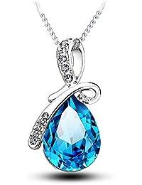 Boolavard® TM Fashion Eternal Love Angel Teardrop Austrian Crystal Pendant Necklace + Gift Box