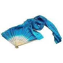 Hrph 1,8 m Hecho a mano de colores vientre baile ventiladores de bambú de seda largo velos danza de los abanicos
