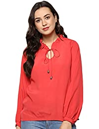 04c652f3ee0 indietoga Women Coral red Crepe Volume Sleeve Western wear top (Plus Size  XS to 7XL