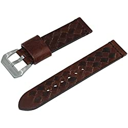 24mm Dark Brown Woven Italian Leather Watch Band with Satin Finished Stainless Steel Buckle