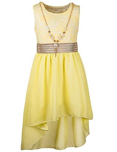 Unbekannt Kinder Sommer Fest Kleid für Mädchen Sommerkleid Festkleid mit Kette in vielen Farben M288ge Gelb Gr. 16/164