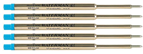 Waterman S0791020 Kugelschreibermine Standard Maxima, Strichstärke M, schreibfarbe blau | Einzeln und in verschiedenen Mengen zur Auswahl (5, blau)