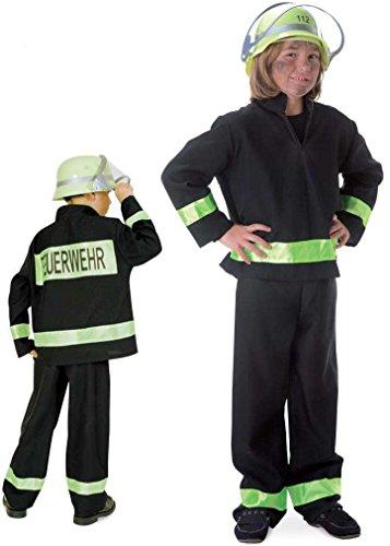 erwehrmann schwarz, deutscher Fire Fighter, Kostüm für Karneval, Fasching, Spiel (98) (Erwachsene Fire Fighter Kostüme)