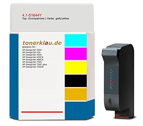 Tinte / Druckpatrone kompatibel zu HP 51644YE, Farbe: yellow, kompatible Druckpatrone 4.1-51644Y , geeignet für: DesignJet 350C DesignJet 430 DesignJet 450C DesignJet 455CA DesignJet 488CA DesignJet 750C DesignJet 750C plus DesignJet 755 -