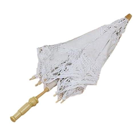 Parasols Blanc - Parapluie - SODIAL(R)1X Vintage Coton Blanc Parasol