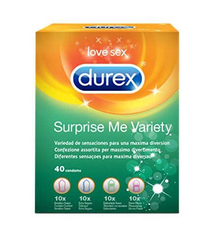 Durex Surprise Me Preservativi Assortiti, 40 Profilattici
