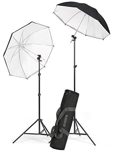 Kaiser Fototechnik 1204 Strobist Stativ-Set (2 Leuchtenstative, 2 Reflexschirme, 2 Neigegelenke für Blitzgeräte) schwarz