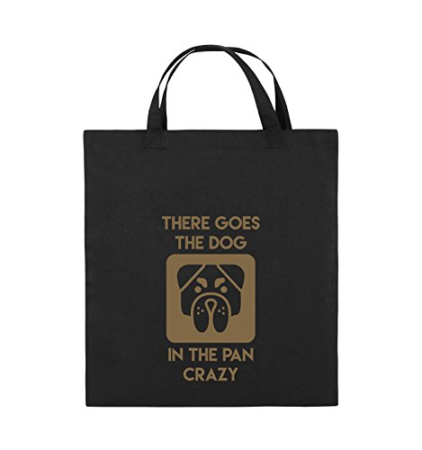 Comedy Bags - THERE GOES THE DOG IN THE PAN CRAZY - Jutebeutel - kurze Henkel - 38x42cm - Farbe: Schwarz / Silber Schwarz / Hellbraun