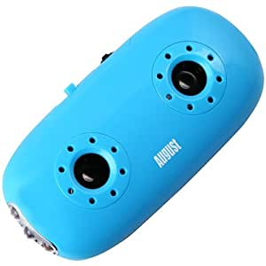 August MB100 – Portable Stereo Speakers – MP3 Player with 3.5 mm Audio In/Card Reader/Flashlight