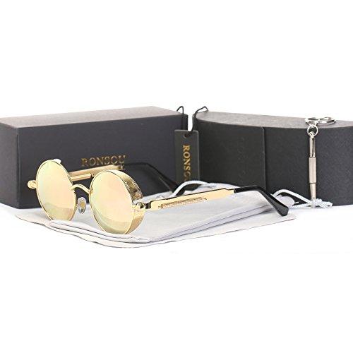 RONSOU Steampunk Stile Rotondi Vintage Polarizzati Occhiali da Sole Retrò Occhiali UV400 Protezione Metallo Telaio oro telaio/rosa lente