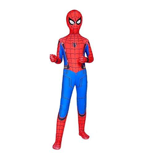 Diudiul Luxus Kids Superheld Spiderman Kostüme für Kinder Action Dress Ups und Zubehör Party Cosplay Kostüm (XS(100-110cm), Rot Blau-Kind-New)
