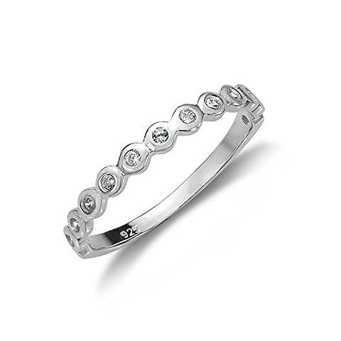 Sterling Silber Halber Ewigkeit Ring mit Kristallen Dots ergänzt   Ringgröße: 63 (Durchmesser: 20,1mm)