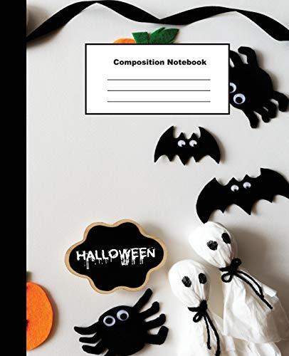 Composition Notebook: Top View of Halloween Crafts on White Background Wide Ruled Paper