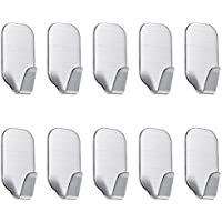 Wall Hooks Self Adhesive Hook, HengBo 10 Pcs Waterproof Stainless Steel Stick Hooks for Kitchens, Bathrooms, Closets