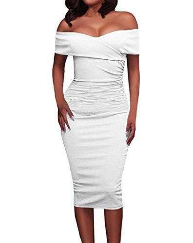 Minetom donna estate eleganti abito da sera spacco solido slinky off shoulder manica corto vestiti da cerimonia cocktail elegante lunga vestito bianco it 42