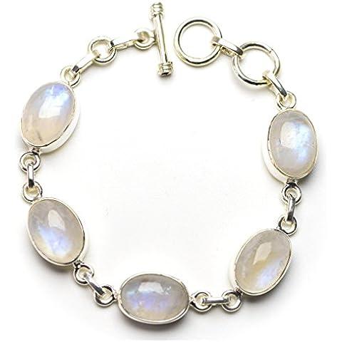 stargems (TM) naturale pietra di luna arcobaleno braccialetto in argento Sterling 9256–1/2