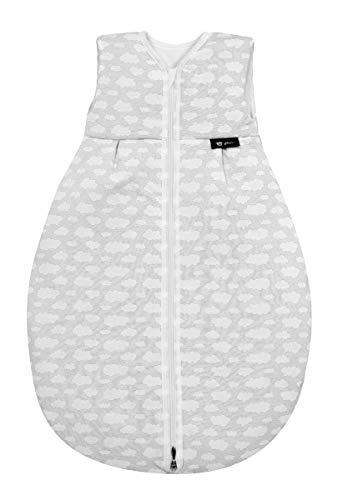 Alvi Schlafsack Mäxchen Thermo | Babyschlafsack ohne Ärmel, Größe:110, Design:Wolke silber 653-9
