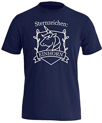 Sternzeichen Einhorn - Herren Rundhals T-Shirt Navy/Weiss