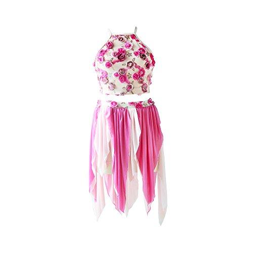 NewDance Women's 2 Piece Contemporary Lyrical Dress Allover Flower Irregular Hem Skirt Dance Costumes NT16030,Pink,SA