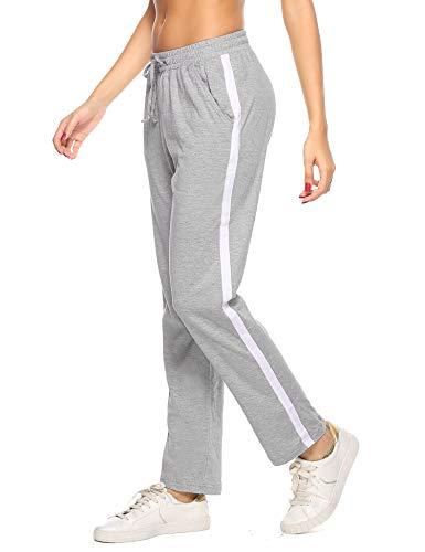 Hawiton Damen Sport Jogging Hose Lang Baumwolle Schlafanzughose Pyjamahose Nachtwäsche Grau M
