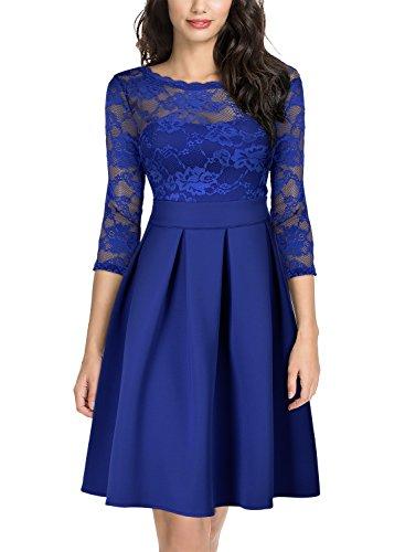 MIUSOL Damen Elegant Spitzenkleid Vintage Cocktail Spitzen 3/4 Arm Abendkleider Hellblau XL