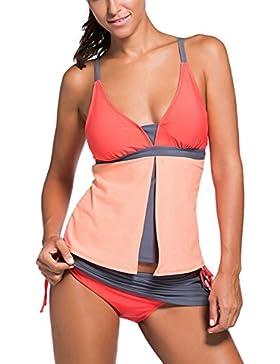Aleumdr Mujer Tankini Colorblock Trajes de Baño Básico Bañador Escote en V Color Multicolor Size S-XXXL